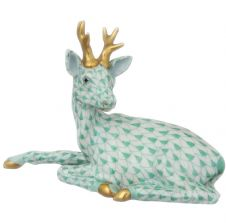Herend Porcelain Fishnet Figurine of a Roe Buck, Lying